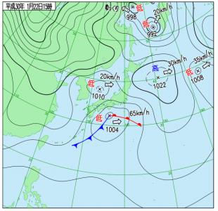 1月22日(月)15時の実況天気図