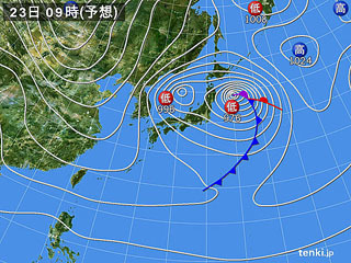 1月23日(火)9時の予想天気図