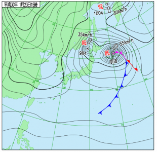 1月23日(火)15時の実況天気図