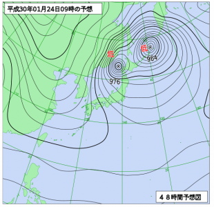 1月24日(水)9時の予想天気図