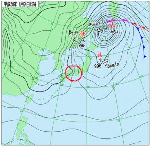 1月24日(水)15時の実況天気図