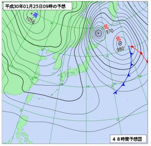 1月25日(木)9時の予想天気図