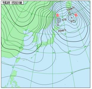 1月25日(木)15時の実況天気図