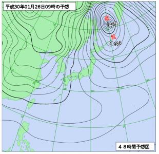 1月26日(金)9時の予想天気図