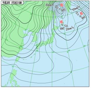 1月26日(金)15時の実況天気図