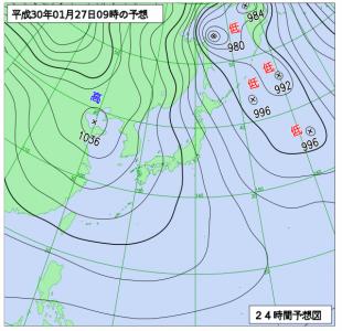1月27日(土)9時の予想天気図