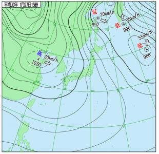1月27日(土)15時の実況天気図