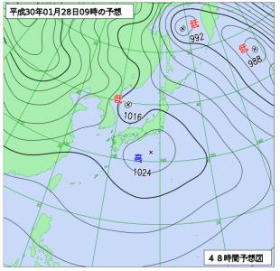 1月28日(日)9時の予想天気図