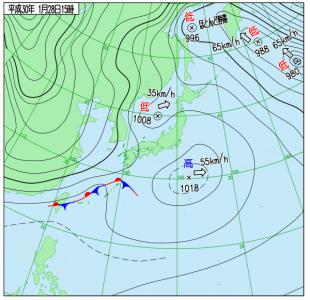 1月28日(日(15時の実況天気図