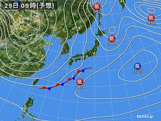 1月29日(月)9時の予想天気図