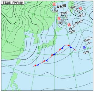 1月29日(月)15時の実況天気図