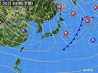 1月30日(火)9時の予想天気図