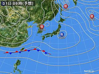 1月31日(水)9時の予想天気図