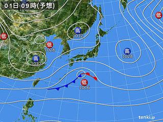 2月1日(木)9時の予想天気図