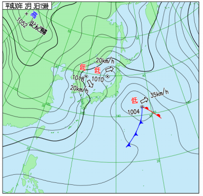 2月3日(土)15時の実況天気図