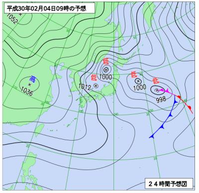 2月4日(日)9時の予想天気図