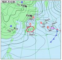 2月4日(日)12時の実況天気図