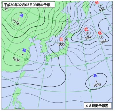 2月5日(月)9時の予想天気図