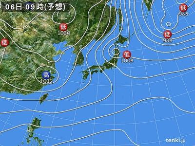 2月6日(火)9時の予想天気図