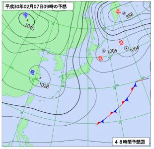 2月7日(水)9時の予想天気図