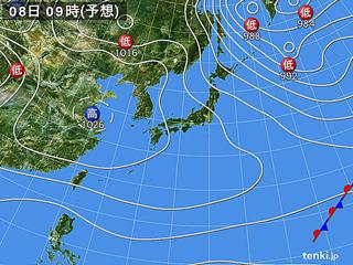 2月8日(木)9時の予想天気図