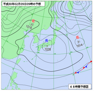 2月9日(金)9時の予想天気図