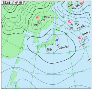 2月9日(金)15時の実況天気図