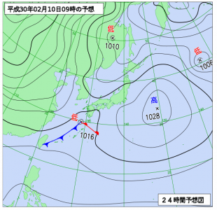 2月10日(土)9時の予想天気図
