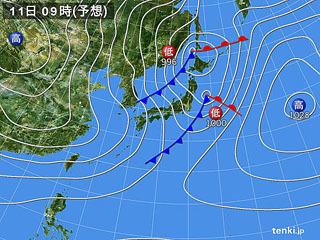 2月11日(日祝)9時の予想天気図