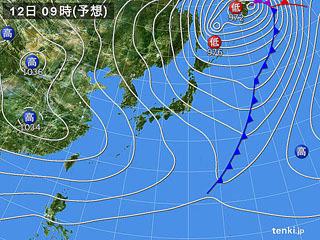 2月12日(月振)9時の予想天気図