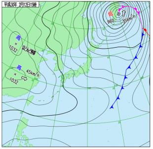 2月12日(月振)15時の実況天気図