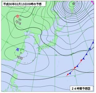 2月13日(火)9時の予想天気図