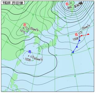 2月13日(火)15時の実況天気図