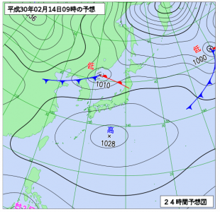 2月14日(水)9時の予想天気図