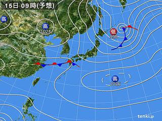 2月15日(木)9時の予想天気図