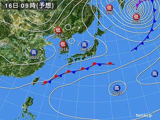 2月16日(金)9時の予想天気図