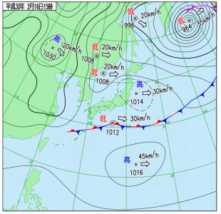 2月16日(金)15時の実況天気図