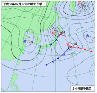 2月17日(土)9時の予想天気図