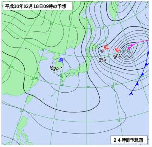 2月18日(日)9時の予想天気図