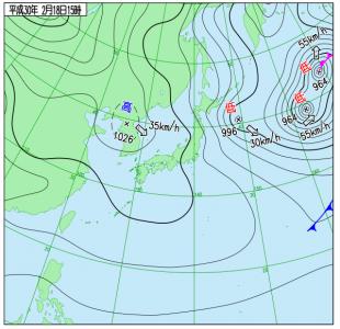 2月18日(日)15時の実況天気図