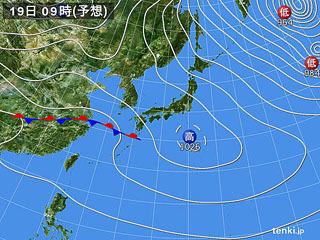 2月19日(月)9時の予想天気図