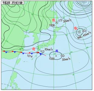 2月19日(月)15時の実況天気図