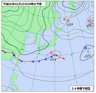 2月20日(火)9時の予想天気図