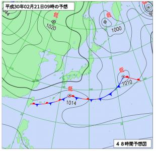 2月21日(水)9時の予想天気図
