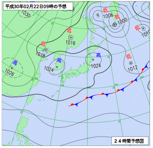 2月22日(木)9時の予想天気図