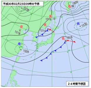 2月23日(金)9時の予想天気図