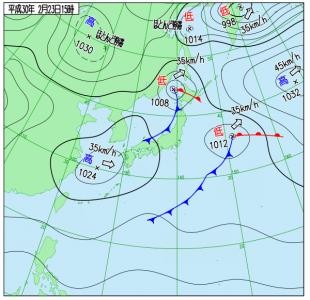 2月23日(金)15時の実況天気図