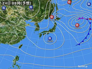 2月24日(土)9時の予想天気図