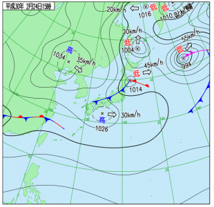 2月24日(土)15時の実況天気図