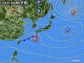 2月25日(日)9時の予想天気図